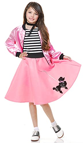 Charades Poodle Skirt with Elastic Waistband Girl's Costume, Bubblegum Pink, X-Large