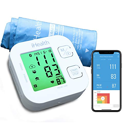 """Blood Pressure Monitor, iHealth Bluetooth Upper Arm Blood Pressure Monitor Cuff & Pulse Rate Monitoring Meter with Cuff Size 8.7""""-16.5"""", App-Enabled Smart Blood Pressure Machine for iOS and Android"""