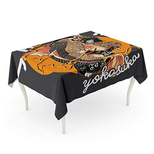 LIS HOME Rechteck Tischdecke Slogan japanische Koi Fisch Bomberjacke gedruckt Tee Damen Denim Herbst mit Kapuze Tischdecke