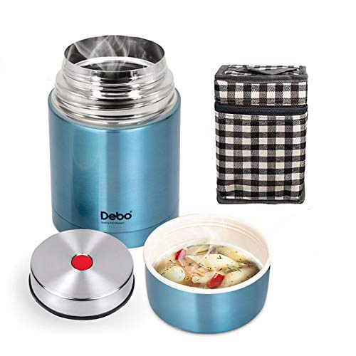 Debo Thermos Food Jar 18/8 Stainless Steel Bpa-Free Soup Thermos 26 Ounce Hot Food Thermoses Keep Food Liquid Hot or Cold 24 Hours Blue