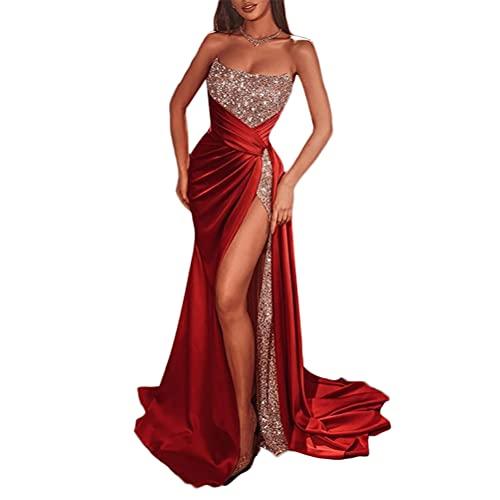ORANDESIGNE Vestiti Cerimonia Donna Eleganti Lunghi Curvy Scollo V Abiti da Damigella Senza Maniche Vestiti Matrimonio Tinta Unita Abito Cocktail Mare Spiaggia h Rosso XS