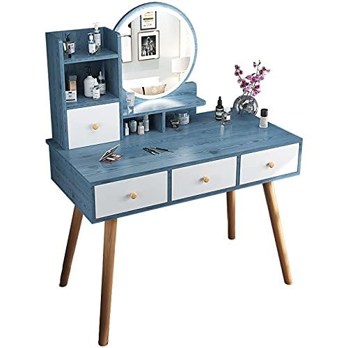Tocador Mesa Cosmética Escritorio de tocador con cajones y espejo iluminado, conjunto de mesa de tocador de maquillaje con 3 colores de pantalla táctil LED luces espejo para niñas mujeres dormitorio b