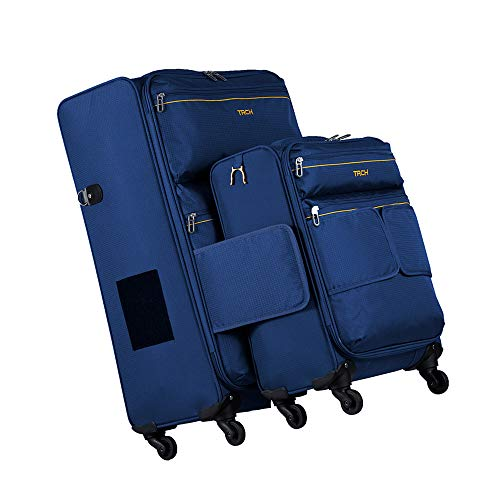 TACH LITE Soft Connectable 2 Piece Luggage Sets - 20 & 28 inch Luggage | Small Carry On & Large Checked Suitcases | Patented Built-In Connecting System | Rolling Suitcase Links 6 Bags At Once (Navy)