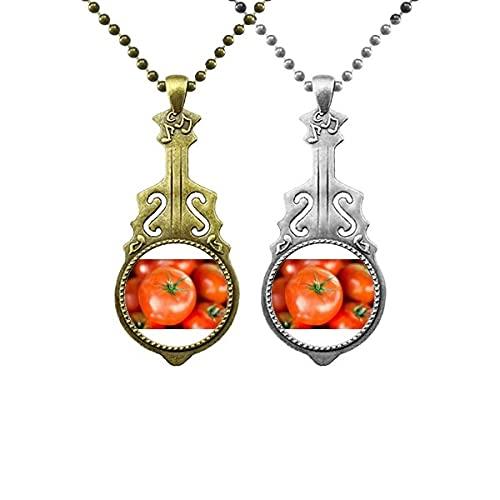 Colgante de fruta fresca con imagen de tomate de la música de la guitarra colgante de la joyería del collar de la pareja
