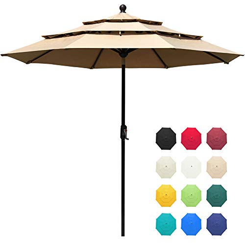 EliteShade Sunbrella 9Ft 3 Tiers Market Umbrella Patio Outdoor Table Umbrella with Ventilation and 5 Years Non-Fading Top,Heather Beige