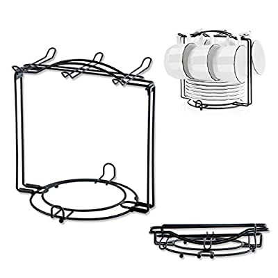 YOLIFE Tea Cups Display Stand, Tea Cups Rack, Can Hold Up 6 cups, 6 Saucers, 6 spoon, Black Metal Rack?Can be disassemble?