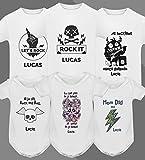 Pack 3 body bebe original camiseta manga corta personalizado nombre & Rock n Roll Metallica - Regalo original y divertido, nacimiento, cumpleaños