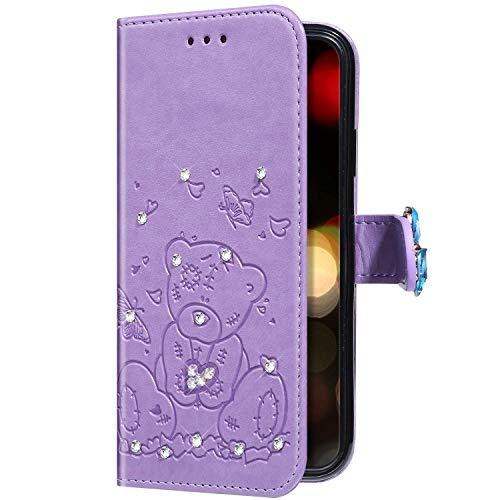 Uposao Compatible con Samsung Galaxy A50 Funda Libro con Glitter Mariposa Lindo...