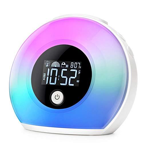 Despertador De Luz Despertador,Luz Nocturna Para Niños,Reloj Digital Con Luces Led Para Dormitorios,Despertador LED Con Altavoz Bluetooth,Lámpara Para Dormir De Interior Junto A Dia Del Padre Regalos