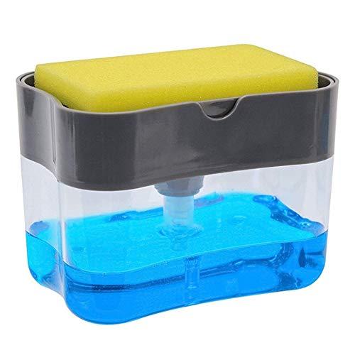 Esponja Soap Pump, Dispensador De Fregadero De Encimera Con Esponja Dispensador Jabón 2 en 1 con Esponja Soap Pump Dispensador de jabón en la encimera (2 en 1) Para Lavar Platos De Fregadero De Cocina