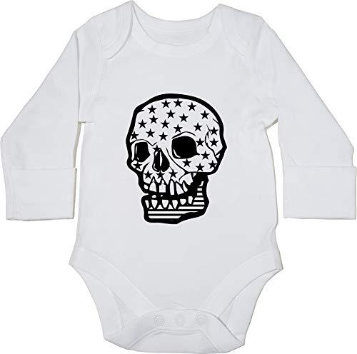 HippoWarehouse American Skull Body Manga Larga Bodys Pijama niños niñas Unisex