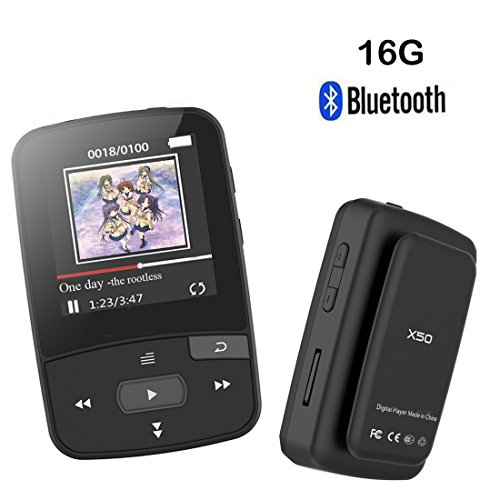 HONGYU 16GB Clip Bluetooth MP3 Player with 1.5 Inch Screen Can Play 50 Hours,FM Radio,Clock, Data Voice Recorder Music Player (Black)