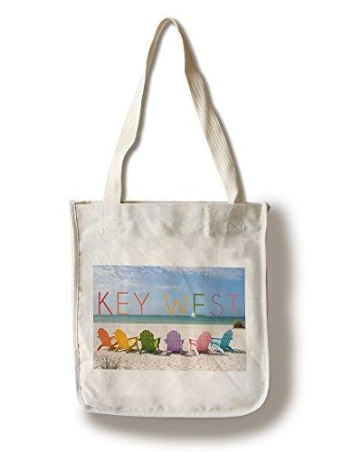 Lantern Press Key West, Florida - Colorful Beach Chairs (100% Cotton Tote Bag - Reusable)