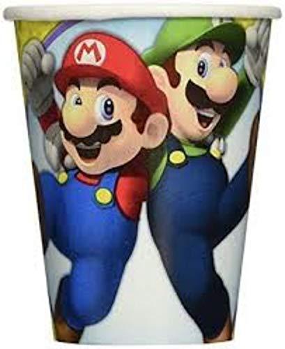Lote de 24 Vasos de Cartón Infantiles'Super Mario Bros'. Vajillas y Cuberterías. Juguetes para Fiestas de Cumpleaños, Bodas, Bautizos y Comuniones.