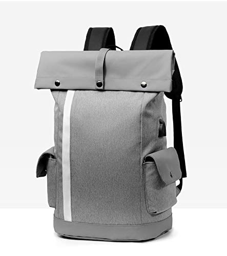 Yi-xir fashion design Laptop Bag Multifunction Backpack with USB Charging Port School-Bag Travel-Bag Nylon Water Repellent Cursory Daypack Lightweight and durable (Color : Gray)
