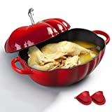 Cast Iron Tomato Cocotte, Enameled Cast Iron Dutch Oven Casserole Dish with Silicone Gloves, for Slow-Cooking Meats and Vegetables, Best Gift,Red