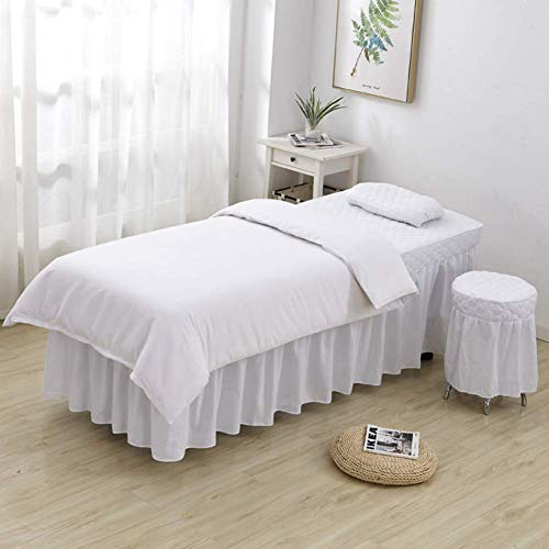 ZTMN Beauty Salon Bed Cover Bedsprei Met Gat, Massage Tafelblad Sets, Pure Kleur, 4 Stuks Massage Lakens Bed Rok Linnen spreien -e 190x80cm(75x31inch)
