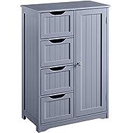 Yaheetech Bathroom Cabinet Cupboard Floor Standing Cabinet Unit Storage with 4 Drawers & 1 Door Grey
