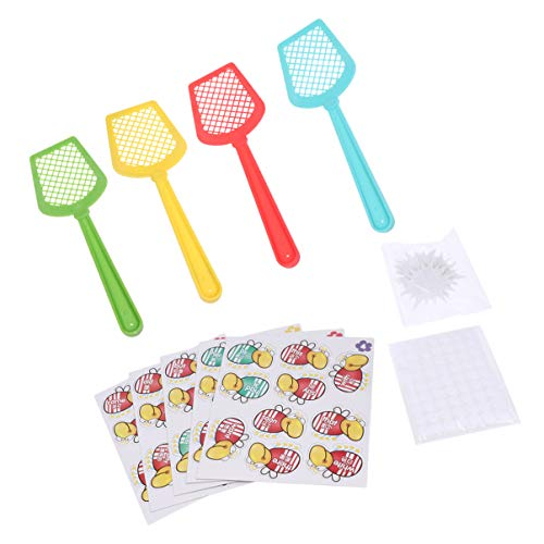 NUOBESTY 1 Set Sight Word Game, Educational Word Flies Fly Swatter Toys English Words Cards School Teaching Shooting Flies Game - Fly Swatter 4, Word Flies 110, Blank Flies 10