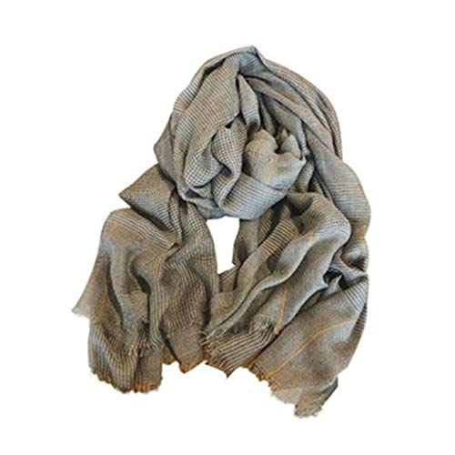 47-B Bufanda pequeña a cuadros femenina de algodón y lino con sensación fina, toalla de playa, protector solar, bufandas chales (color: gris, tamaño: M-90 x 200 cm)
