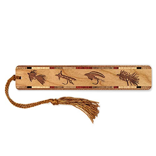 Trout Fishing Flies, Engraved Wooden Bookmark with Tassel - Search B07GBJQDMD for Personalized Version