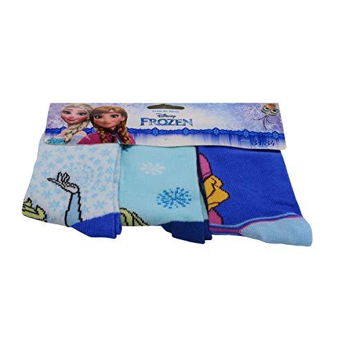 Frozen - Die Eiskönigin Anna und Elsa Kinder Mädchen Socken 3er Set, Größe:27/30 EU