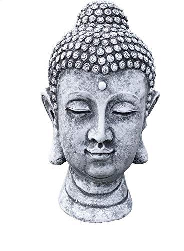 Steinfigur Buddha Shiva Kopf, Frost- und wetterfest bis -30°C, massiver Steinguss