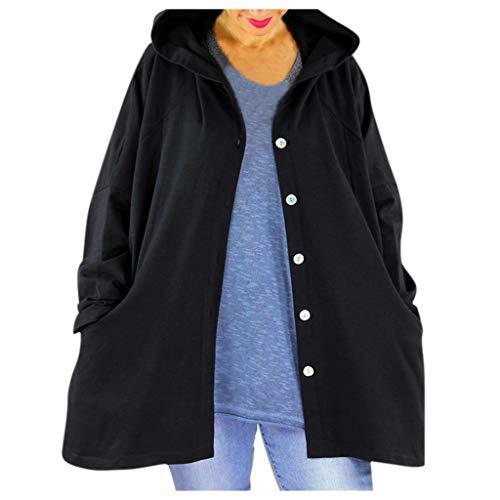 Lialbert Chaqueta de entretiempo para mujer con capucha, chaqueta cortavientos, chaqueta con capucha, sudadera con capucha con cordón y cremallera Negro XL