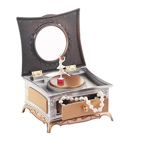 Mallalah roterende meisje muziek doos, kinderen muzikale sieraden doos klassieke dressoir met make-up spiegel Eén maat goud