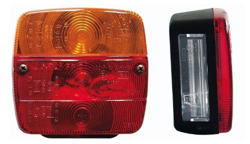 Cartrend 80121 Luces traseras con iluminación de matrícula, lámpara de 4 secciones con bombillas incluidas, homologación E