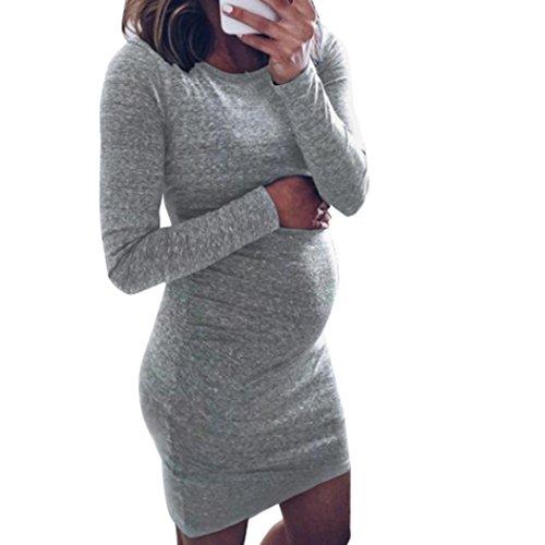 Umstandskleidung, ESAILQ Mode Frau Schwangerschafts O-Ausschnitt Langarm Pflege Baby für Mutterschaft Minikleid
