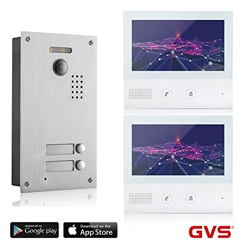 GVS 2-Draht/IP Video-Türsprechanlage, 2 Familienhaus Set, Handy-App, 2X 7 Zoll Monitor, Tür-Öffner, Foto-/Video-Speicher, Türstation, 2 MP Kamera, 170° Erfassungswinkel, AVS7038-7071-22