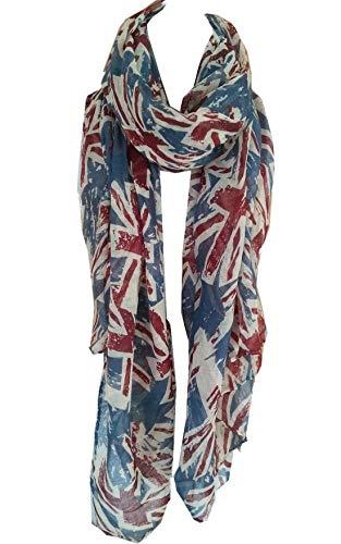 UK Flag Print Scarf Union Jack Womens London Fashion Denim Blue (Denim Blue)