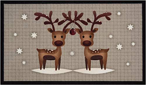 Bavaria Home Style Collection - Deko Motiv Fussmatte Weihnachten Winter Rentier Duo l rechteckig Höhe 7 mm ca 45 x 75 cm