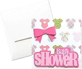Baby shower - fiocco rosa - bambina - biglietto d'auguri (formato 12 x 12 cm) - vuoto all'interno, ideale per il tuo messa...