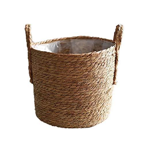 MICHAELA BLAKE Hecho a Mano de Almacenamiento de Paja Tejido de Cesta de Mimbre Rattan Planter Basket Maceta contenedor de Almacenamiento para la decoración de la Boda del jardín Tamaño 30cm