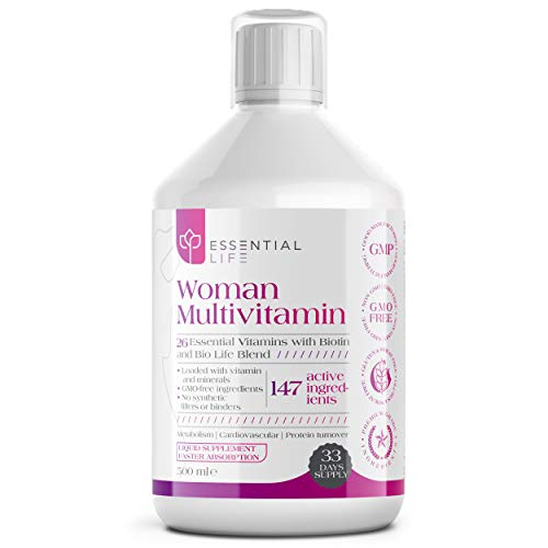 Essential Life Women's Multivitamins – Liquid Multivitamin Supplement with Biotin – Enriched with Minerals, Amino Acids and Women Bio Active Life Blend – No Synthetic Fillers Formula – 33-Day Supply