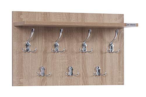 ts-ideen Garderobe Wandgarderobe Flur Diele Paneel Hakenleiste Holz Sonoma Eiche mit 7 Haken und einer Ablage 55 x 33 cm
