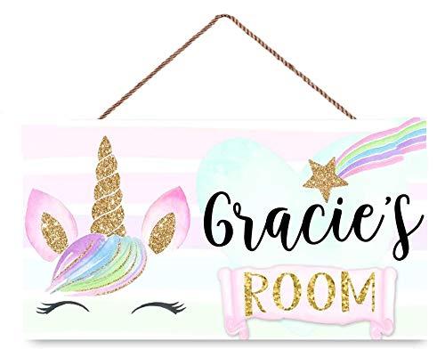 INNAPER Personalised Rainbow Unicorn Face Door Sign Pink Gold Star Bedroom Nursery Wall Wooden Sign Décor