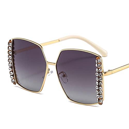 AMFG Pequeño Marco De Moda Diamante Gafas De Sol For Hombres Y Mujeres Con Marco De Metal Retro Visera Cuadrado Vasos De Conducción (Color : A, Size : M)