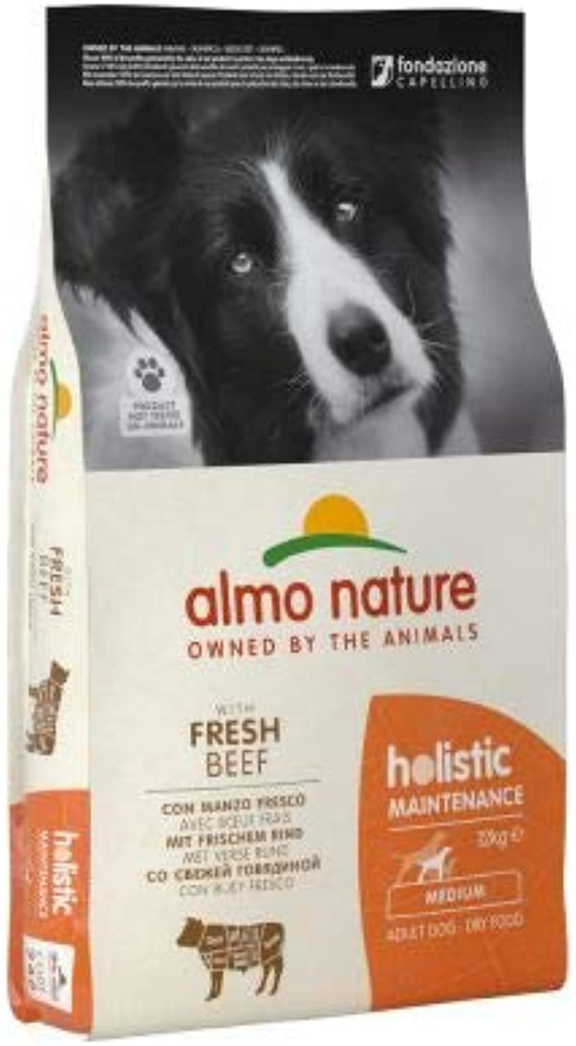 Almo Nature Holistic Dog Food – Medium Adult Beef & Rice Complete dry food for medium breeds of adult dogs Economy Pack  2 x 12kg