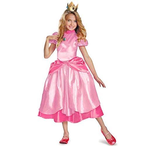 Little Princess Peach Disfraz Super Mario Brothers Princess Cosplay Juego clásico Disfraz de Mario Niños Niña Disfraz de Halloween L