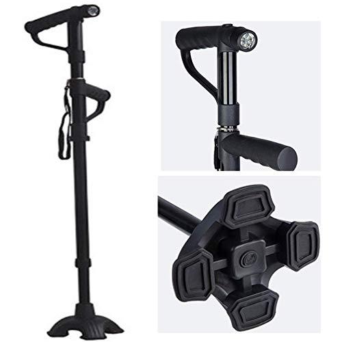 Faltbarer Stock, Krückenaluminiumlegierung, Erwachsene, einstellbare Länge 78-100,5 cm, zehnhöhenverstellbar, Stand-Up-Assistentengriff, mit Taschenlampe