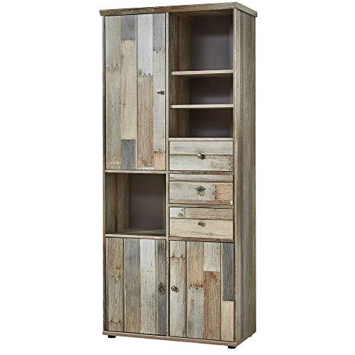 Bonanza Vintage Wohnzimmerschrank in Driftwood Optik - Retro Schrank mit viel Stauraum für Ihr Wohnzimmer - 83 x 188 x 39 cm (B/H/T)