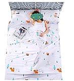 Stillshine Saco de Dormir de Algodón Sábana y Saco de Dormir Portátil Bolsa de Dormir para Adultos Hotel Hostel Camping Senderismo Avión Tren (Ardilla Blanca, 200 * 230cm)
