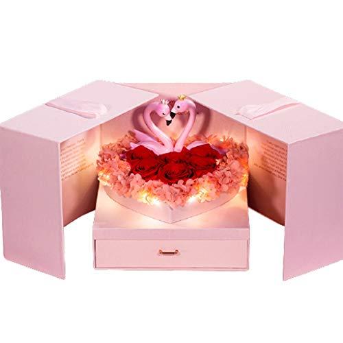LZL Caja de regalo de flores conservadas con flamencos y rosas auténticas preservadas para