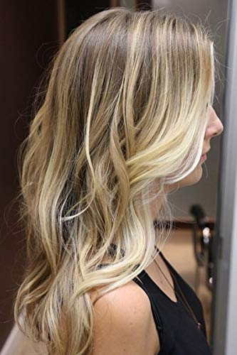 Moresoo Echthaar Topper Mono Top für Schütteres Haar 100% Remy Menschliches Haar 12 Zoll Farbe #6 Braun Ombre zu #613 Blond 1.5 x 5 Zoll Clip in Topper Haarteil