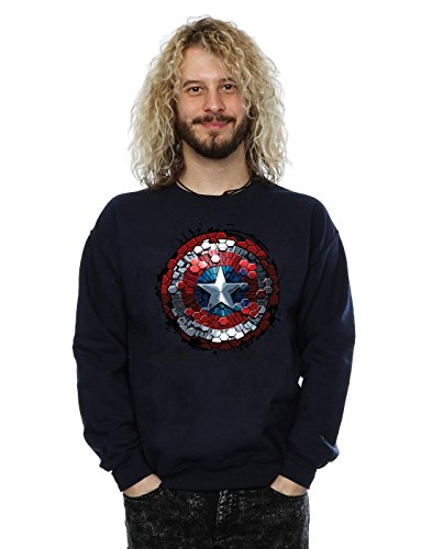 Marvel Captain America Civil War Hex Shield Sweat-Shirt, Bleu Marine, L Homme