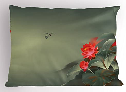 Ambesonne Dragonfly Pillow Sham Traditional Japanese Painting Lotus Blooms in Tones Design Decorative product image