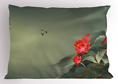"""Ambesonne Dragonfly Pillow Sham, Traditional Japanese Painting with Lotus Blooms in Hazy Tones Design, Decorative Standard Size Printed Pillowcase, 26"""" X 20"""", Red Green"""